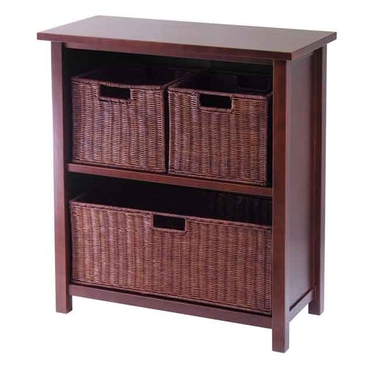 Milan 4-Piece Cabinet/Shelf with 3 Baskets by Winsome Wood