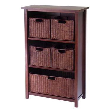 Milan 6-Piece Cabinet/Shelf and Baskets by Winsome Wood