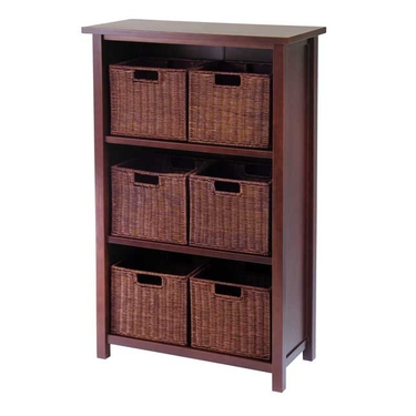 Milan 7-Piece Cabinet/Shelf with Baskets by Winsome Wood