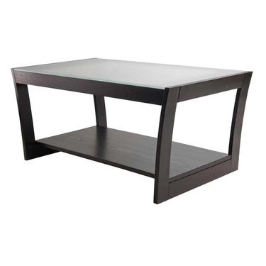 Radius Coffee Table with Frosted Glass and Curved Legs by Winsome Wood