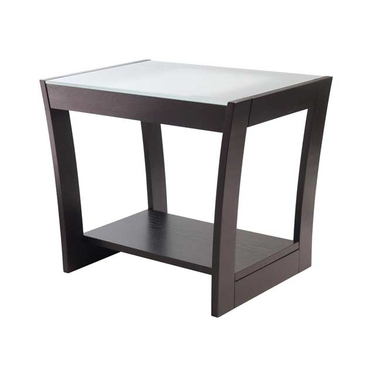 Radius End Table with Frosted Glass Top