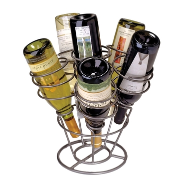 Bottle Bouquet Gunmetal 6-Bottle Wine Rack by Oenophilia