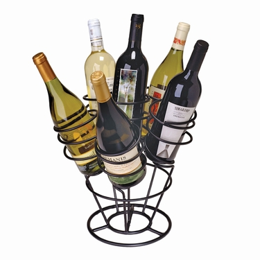 Bottle Bouquet Black 6-Bottle Wine Rack by Oenophilia