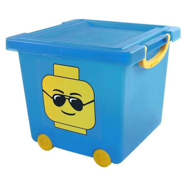 Blue LEGO Wheeled Stacking Basket with Lid