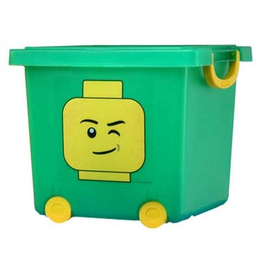Green LEGO Wheeled Stacking Basket with Lid