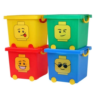 Red LEGO Wheeled Stacking Basket with Lid