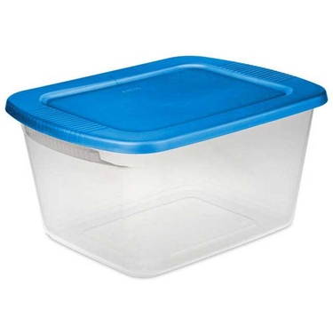 Sterilite 60 quart storage box sail blue lid & see through base