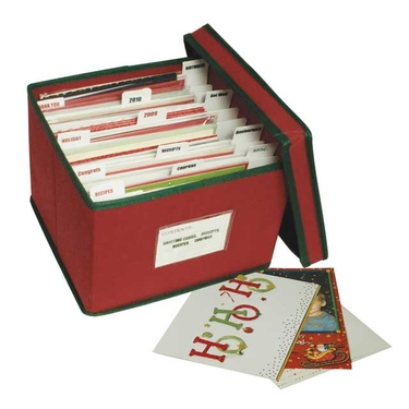 Holiday Red with Green Trim Greeting Card Organizer by Richards