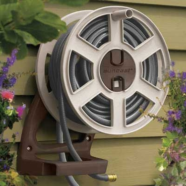 Suncast 100' Sidetracker Wall Mount Hose Reel in Brown