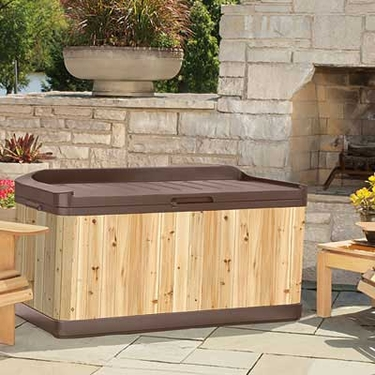 Suncast Hybrid Wood and Resin Deck Box with Seat