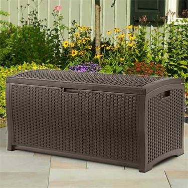 Suncast Resin Wicker Deck Box - 73 Gallon