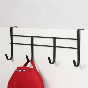 Black Over Door 4 Hook Rack by Spectrum