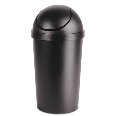 Black 10.5 Gallon Round Swing-Top Wastebasket by Sterilite