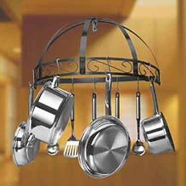 Black Wrought Iron Semi Circle Pot Rack by Kinetic