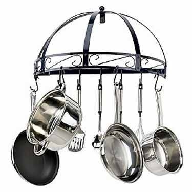 Blue Wrought Iron Semi Circle Pot Rack by Kinetic