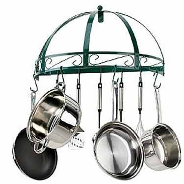 Green Wrought Iron Semi Circle Pot Rack by Kinetic