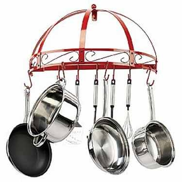 Red Wrought Iron Semi Circle Pot Rack by Kinetic