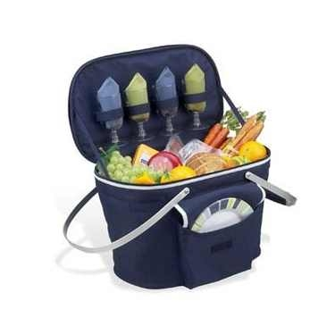Navy Collapsible Insulated Picnic Basket for 4 by Picnic at Ascot