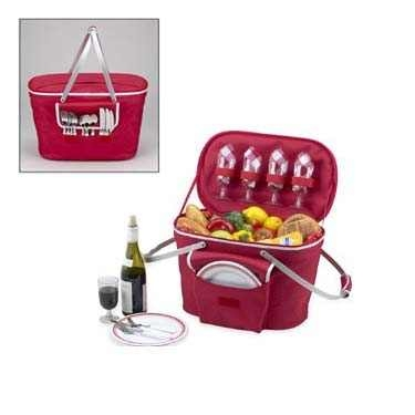 Red Collapsible Insulated Picnic Basket for 4 by Picnic at Ascot