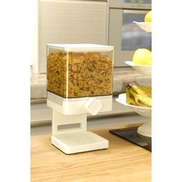 White Indispensable Compact Cereal Dispenser by Zevro