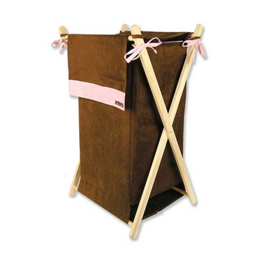 Brown & Pink Suede Hamper Set by Trend Lab