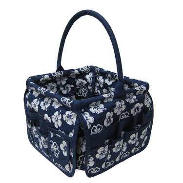 Navy Blue with White Tropical Flower Square Stuff Bucket by Neatnix