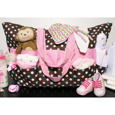 Brown with Pink, White & Blue Polka Dot Stuff Bag by Neatnix