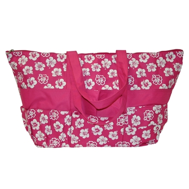 Hot Pink with White Tropical Flower Stuff Bag by Neatnix