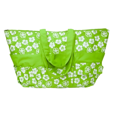 Lime Green with White Tropical Flower Stuff Bag by Neatnix