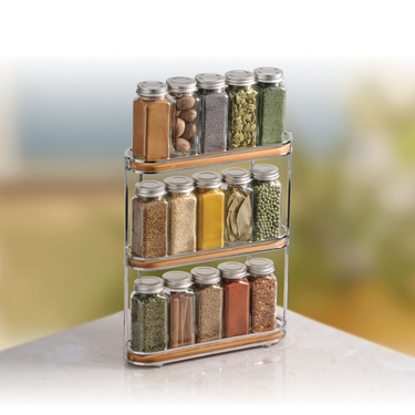 Natural Bamboo and Chrome Spice Rack by Lynk