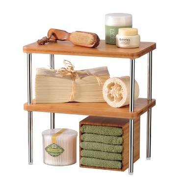 Natural Bamboo and Chrome Stacking Shelf- Set of 2 by Lynk