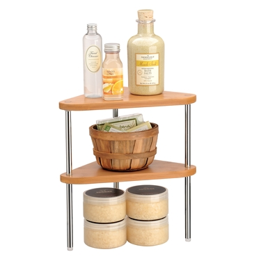 Natural Bamboo and Chrome Stacking Corner Shelf- Set of 2 by Lynk
