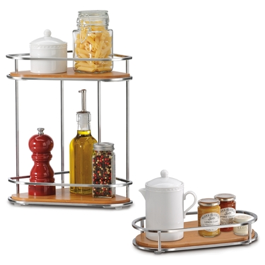 Natural Bamboo and Chrome Corner Organizer & Large Tray Set by Lynk