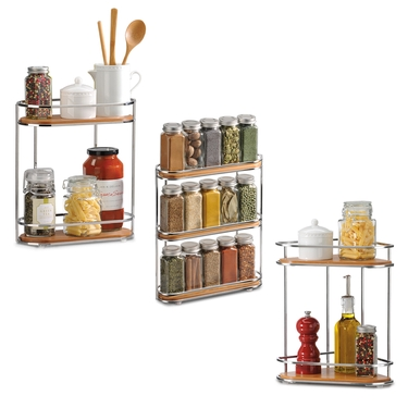 Natural Bamboo and Chrome Corner Organizer, Organizer & Spice Rack Set by Lynk