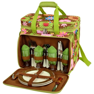 Picnic Cooler for Four-Floral Collection by Picnic at Ascot