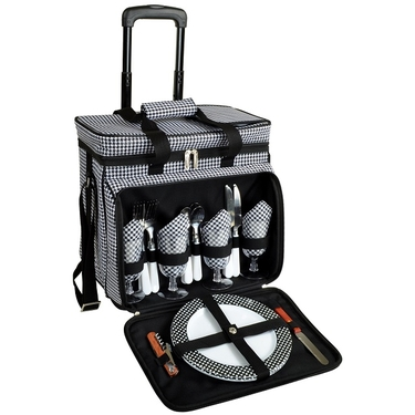 Picnic Cooler for Four with Wheels-Houndstooth Collection by Picnic at Ascot
