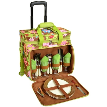 Picnic Cooler for Four with Wheels-Floral Collection by Picnic at Ascot