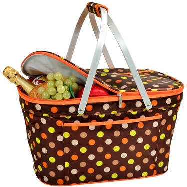 Collapsible Insulated Basket- Julia Dot Collection by Picnic At Ascot