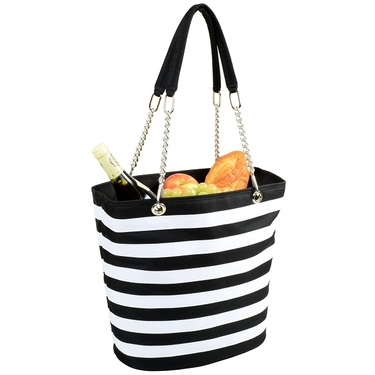 Cooler Tote- Stripe Black Bold Collection  by Picnic at Ascot