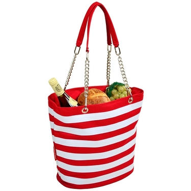 Cooler Tote- Stripe Red Bold Collection  by Picnic at Ascot