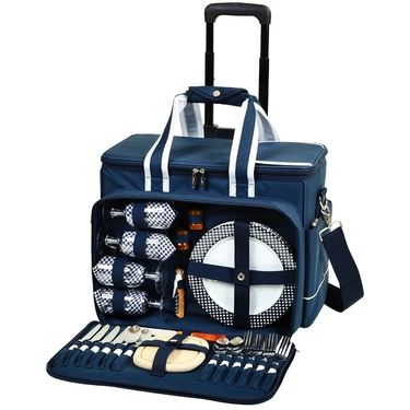 Picnic Cooler for Four on Wheels in Navy by Picnic at Ascot