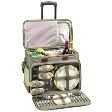 Picnic Cooler for Four on Wheels in Olive by Picnic at Ascot