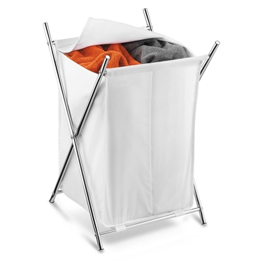 Chrome 2- Compartment Folding Hamper w/ Cover by Honey-Can-Do