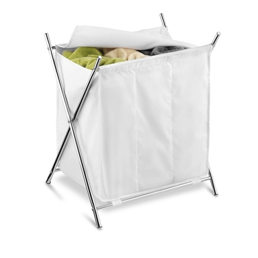Chrome 3 Compartment Folding Hamper with Cover by Honey-Can-Do