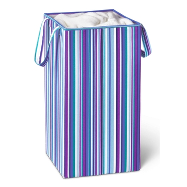 Square Striped Collapsible Hamper by Honey-Can-Do