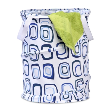 Medium Blue-Square-Patterned Pop Open Hamper by Honey-Can-Do