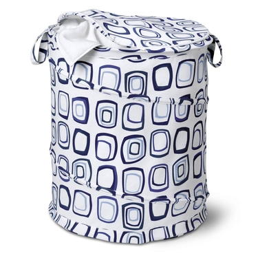 Large Blue-Square-Patterned Pop Open Hamper by Honey-Can-Do