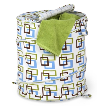 Large Brown/Green-Square-Patterned Pop Open Hamper by Honey-Can-Do