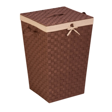 Java/Brown Woven Strap Hamper with Liner & Lid by Honey-Can-Do