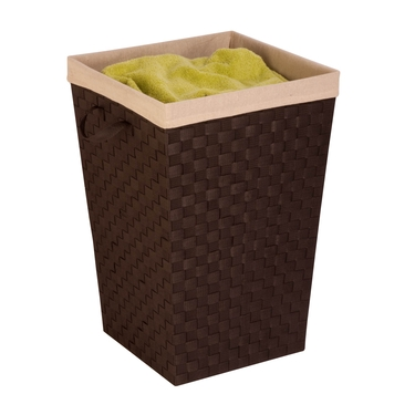 Espresso/Black Woven Strap Hamper with Liner by Honey-Can-Do